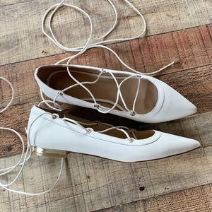 Aldo Pointed Toe Tie Up Flats